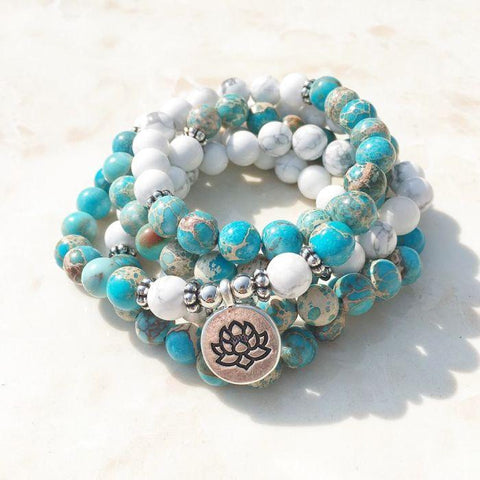 "Mala ""Lotus"" bracelet of 108 beads in Ocean Jasper and Howlite - SoBuddha"