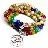 "Mala bracelet ""7 Chakras"" and its pendant Om - SoBuddha"