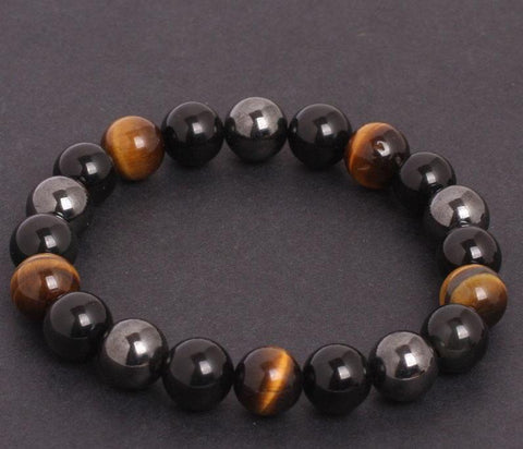 Protection Bracelet, HEALING and POWER in black obsidian, tiger eye and hematite - SoBuddha