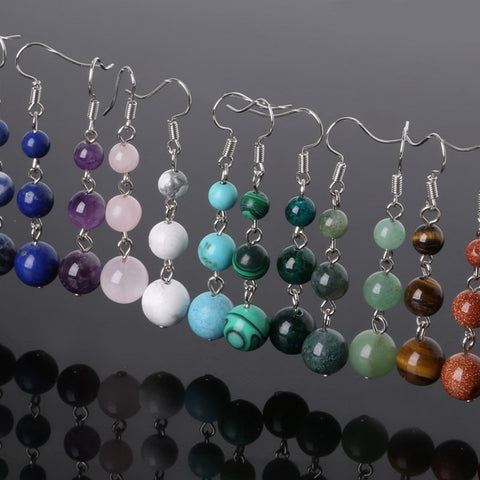 """Energy"" earrings in semi-precious stone - 15 stones available - SoBuddha"