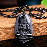 "Necklace & Buddha Pendant ""Vitality"" in Black Obsidian - SoBuddha"