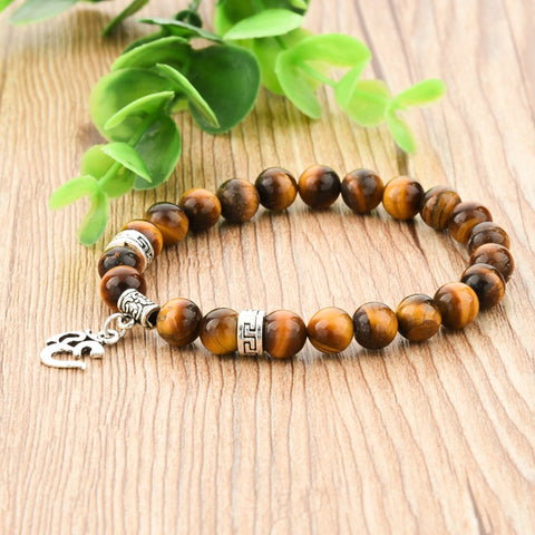 "Bracelet ""Om"" of 21 pearls in Tiger's Eye - SoBuddha"