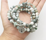 "Mala Bracelet ""Tree of Life"" of 108 Agate Tree Beads - SoBuddha"
