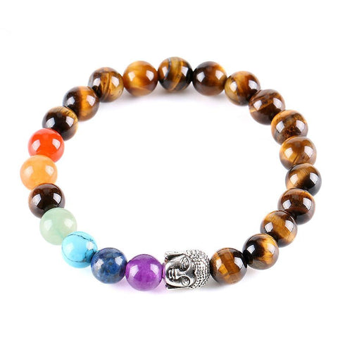 "Buddha Bracelet ""Eye of Tiger and 7 Chakras"" - SoBuddha"