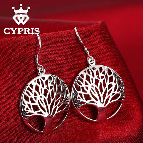 Silver Tree Of Life jewelry bridal set necklace earring totem gift wife girl wedding wholesale jewellery - SoBuddha