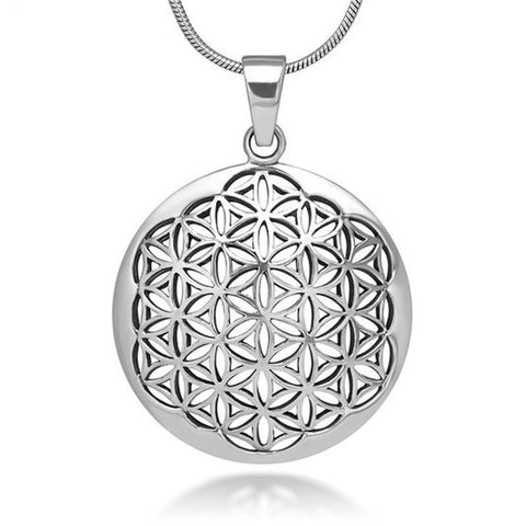 "Sacred Necklace ""Flower of Life"" Antique Silver - SoBuddha"
