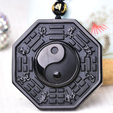"Necklace and pendant carved ""Yin & Yang"" in Black Obsidian - SoBuddha"