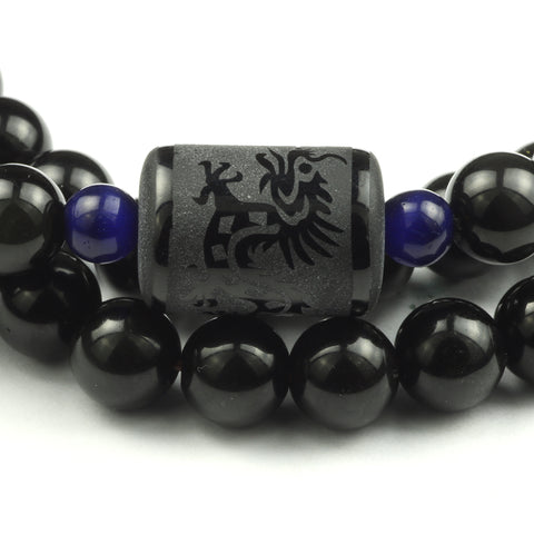 "Bracelets ""Force of Love"" Phoenix and Dragon in Obsidian Rainbow - SoBuddha"