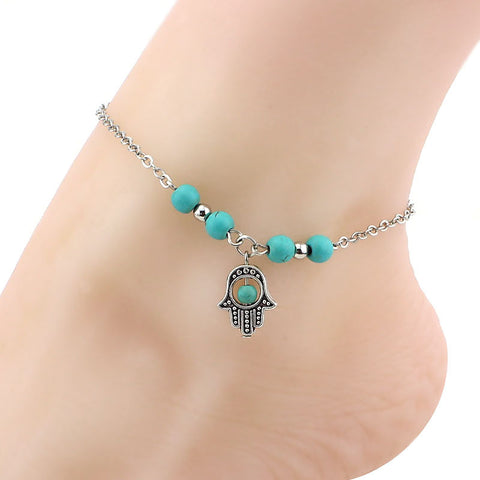 Pearls of Turquoise anklet chain + Pendant of your choice - SoBuddha