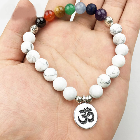 "Bracelet ""7 Chakras and Wisdom"" in White Howlite - SoBuddha"