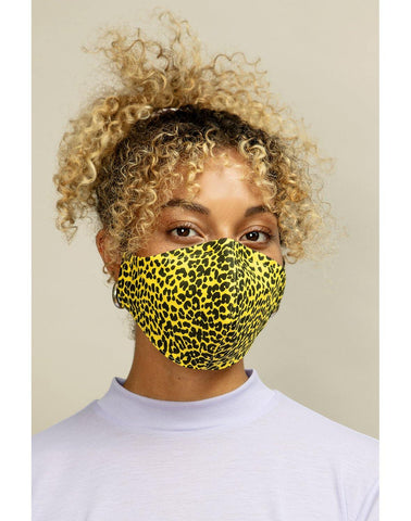 Reusable Face Mask Formed Yellow Leopard - Mahla Clothing