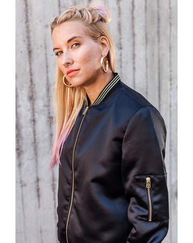 Panthera Bomber Jacket, Black Satin
