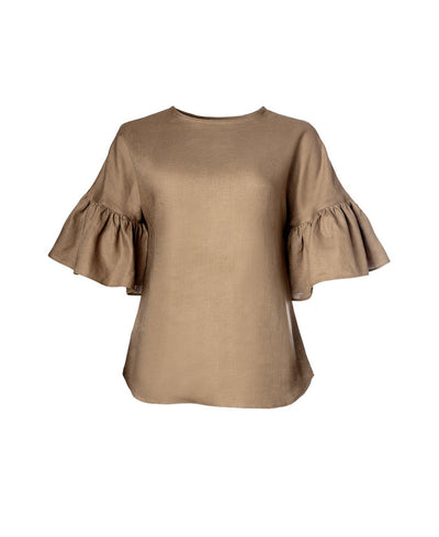 Liia Blouse Light Sand - Mahla Clothing