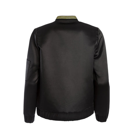 Panthera Bomber Jacket, Black Satin - Mahla Clothing