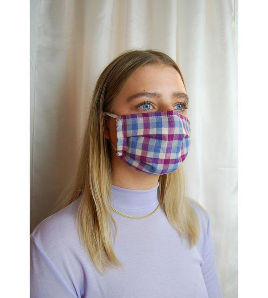 Reusable Face Mask Blue/Wine Red Checkered
