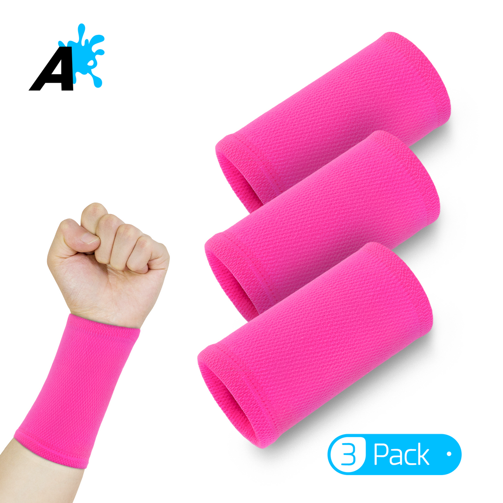 [US] Alien Pros Performance Wrist Bands for Working Out 3 Pairs (Pink)