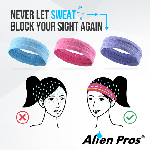 [US] Alien Pros Bling Shiny Headbands for Women Pack of 3 (Pink Purple Blue)