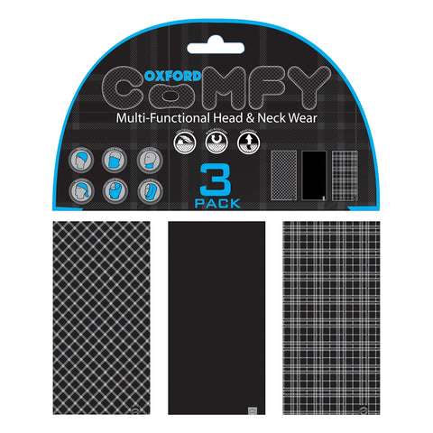 Oxford Comfy Snoods Black & White Tartan 3-Pack