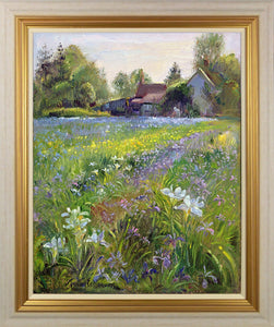 Dwarf Irises And Cottage By Timothy Easton - Mail Order Art