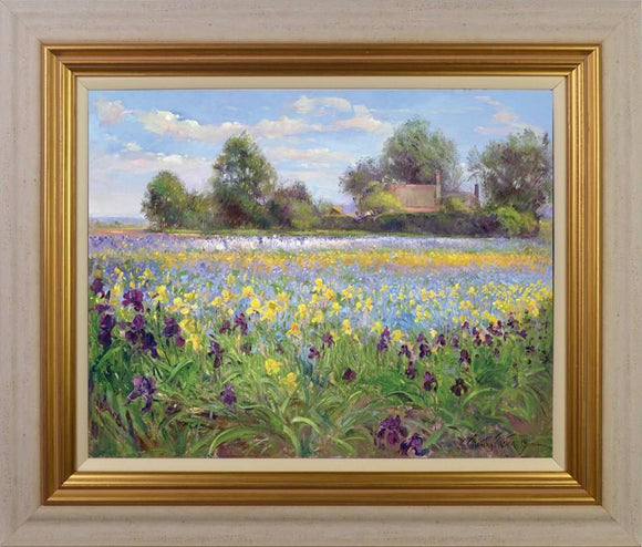 Farmstead And Iris Field By Timothy Easton - Mail Order Art