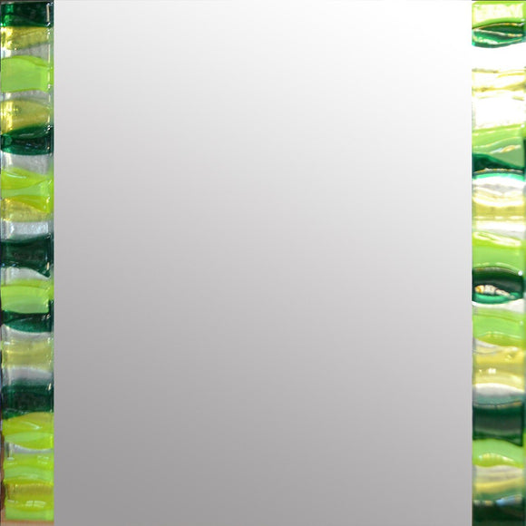 Emerald Ripple Square Mirror By Spires Studio - Mail Order Art
