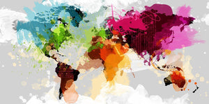 Colourful World Map By GraphINC - Mail Order Art