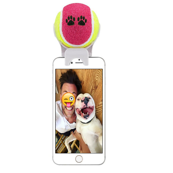 balle selfie chien support telephone