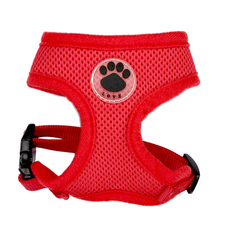 harnais amour love patte chien rouge
