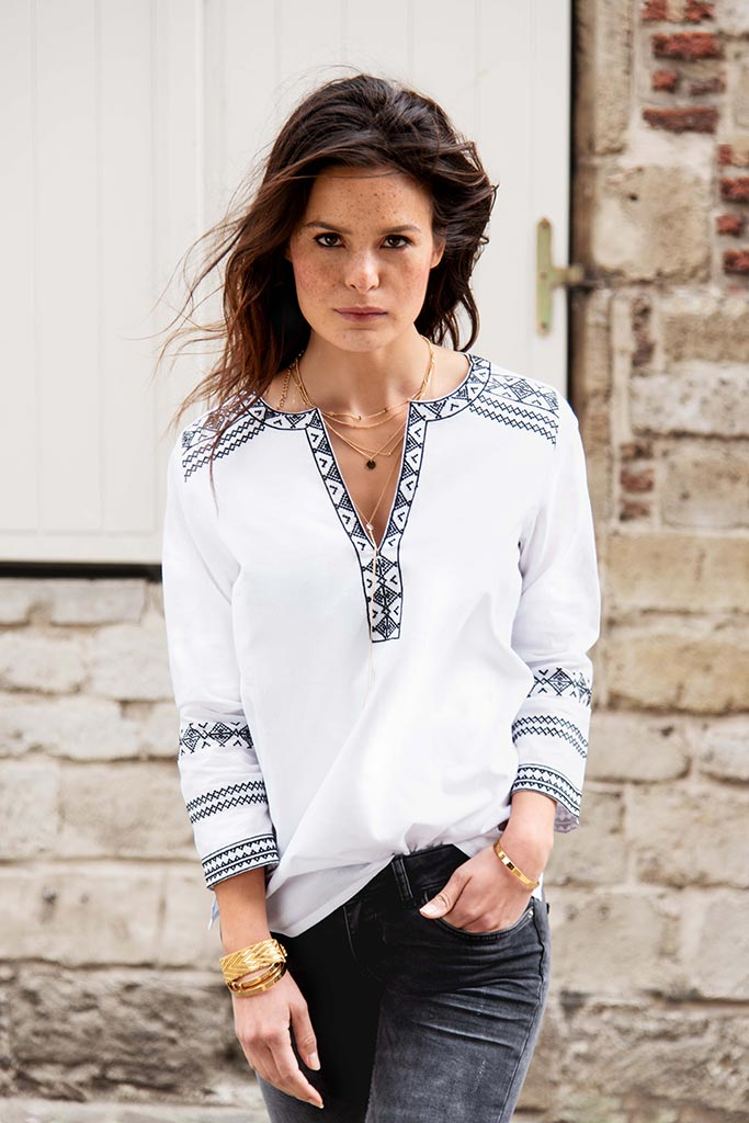 Black and white embroidery summer blouse