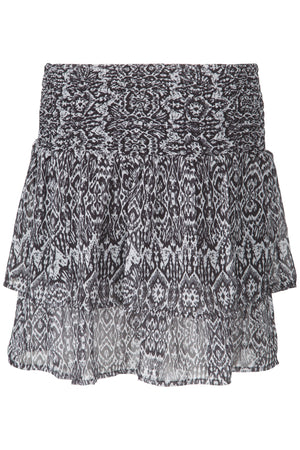 Ruffle layer mini midi skirt with lining and black and white print
