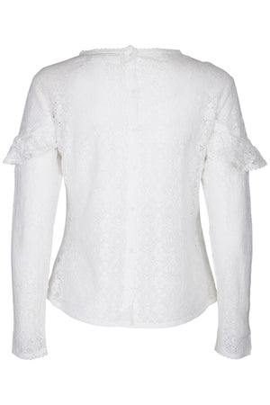 Lace ruffle off white blouse with back button closure
