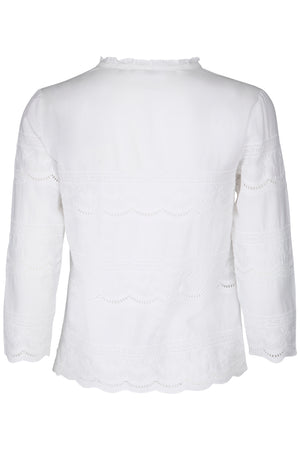 Enbroidery details white summer blouse front closure