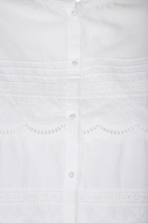 Schiffli fabric white blouse with broidery details