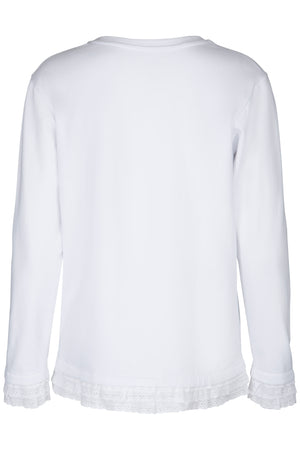 White ladies sweater long sleeve with black logo print artwork