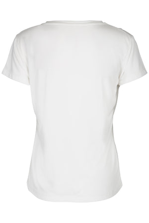 Modal ladies tee deep v-neck with logo print artwork