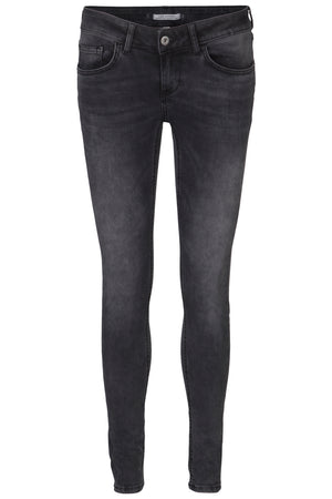 Slim stretchable 5 pocket ladies jeans in blue and black