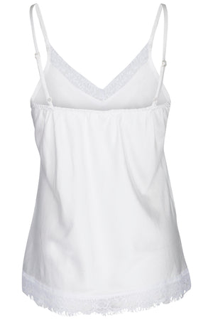 Silk singlet with lace trimming. Adjustable straps. Silk lace nightwear.
