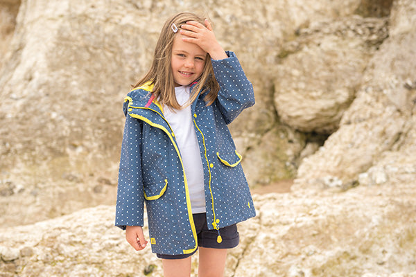 Girl's Fleur Coat in Blue Bay Dot.