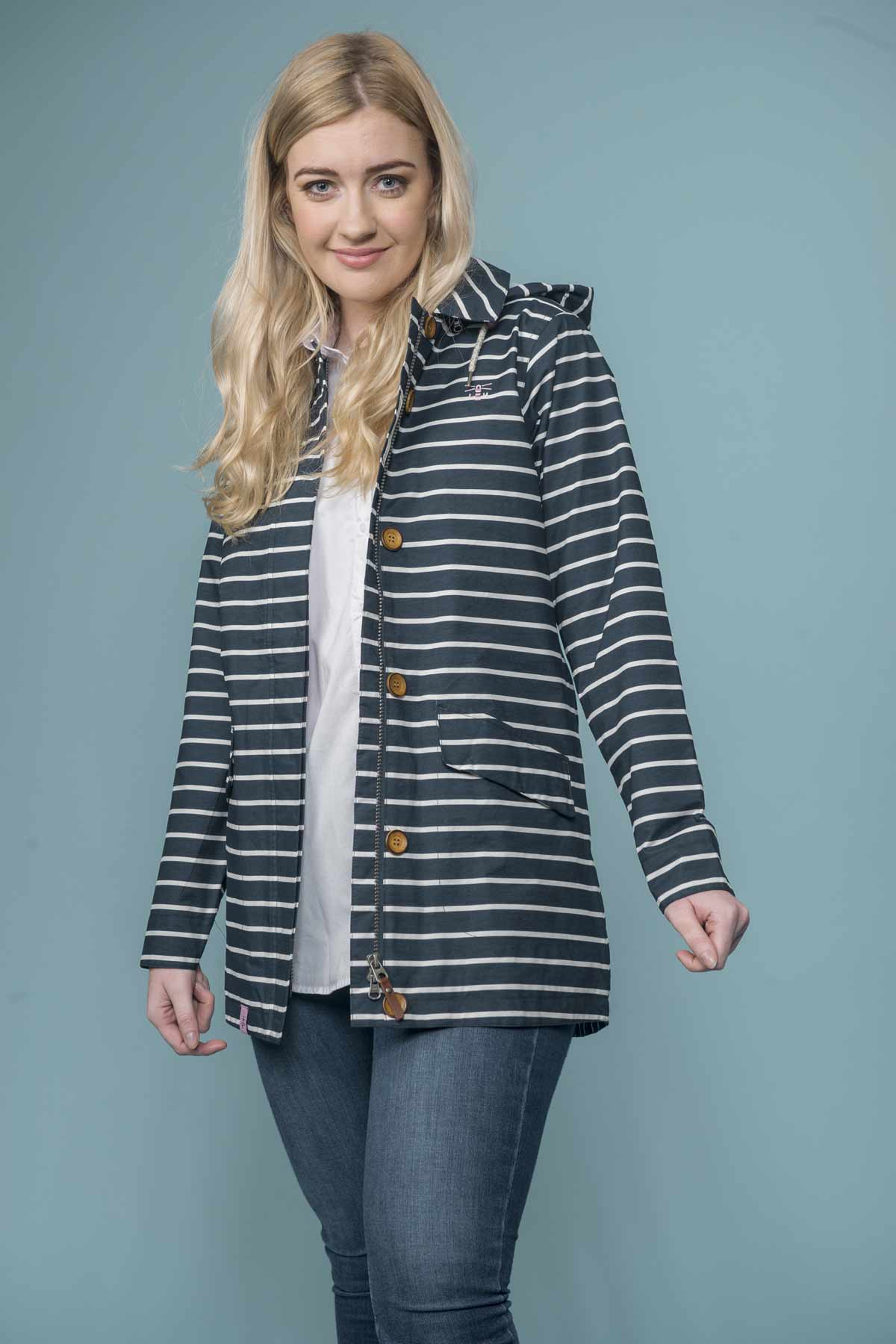 Lighthouse Abby midnight stripe women's waterproof coat