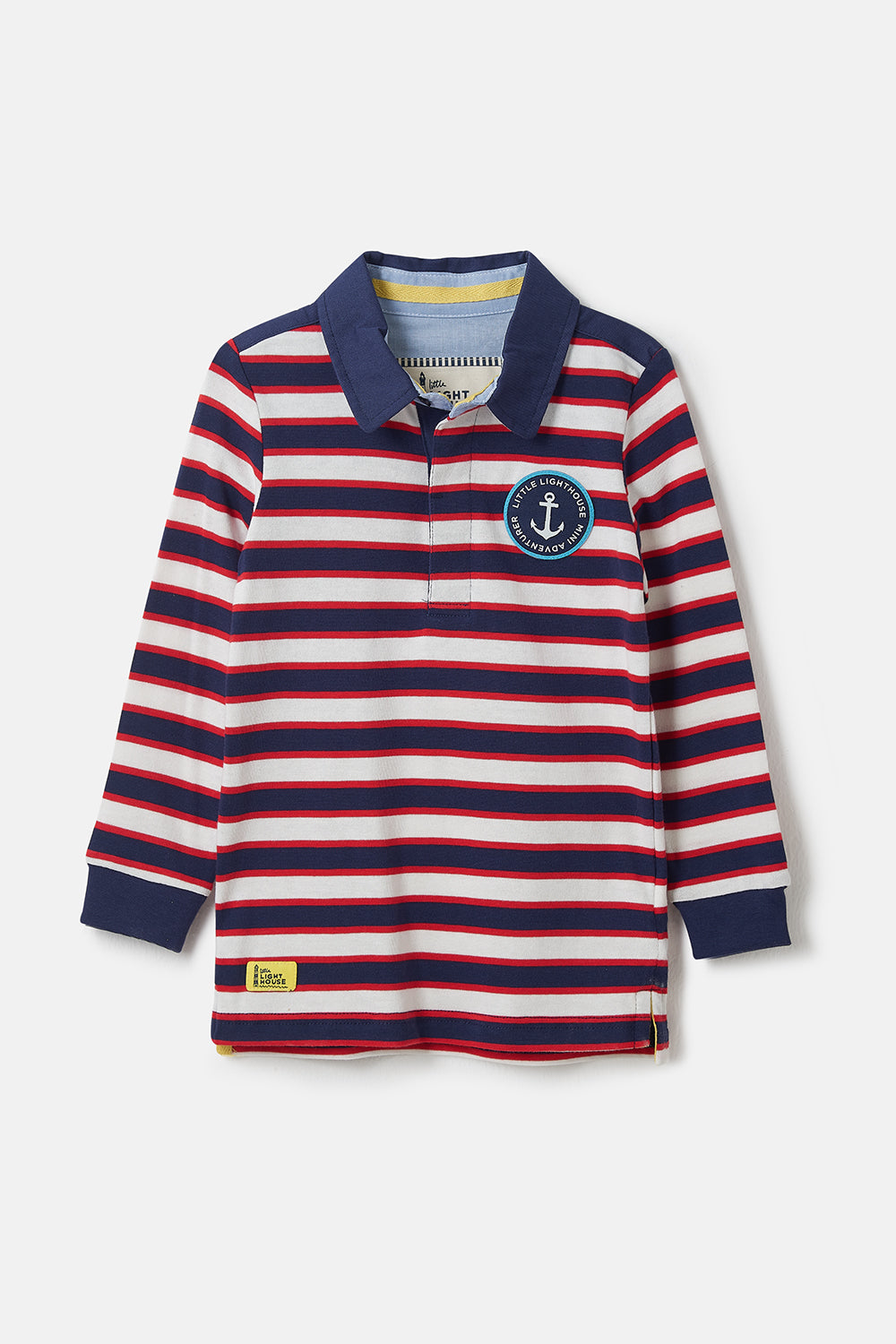 Lighthouse Alfie - Boys Striped Rugby Shirt - Eclipse Stripe