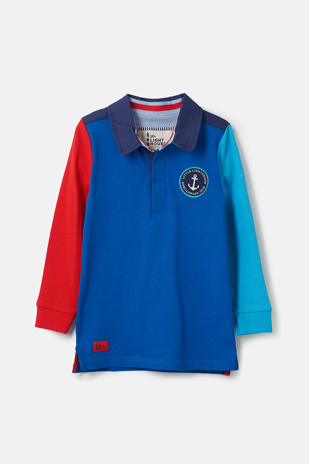 Lighthouse Alfie - Boys Striped Rugby Shirt - Ocean Blue