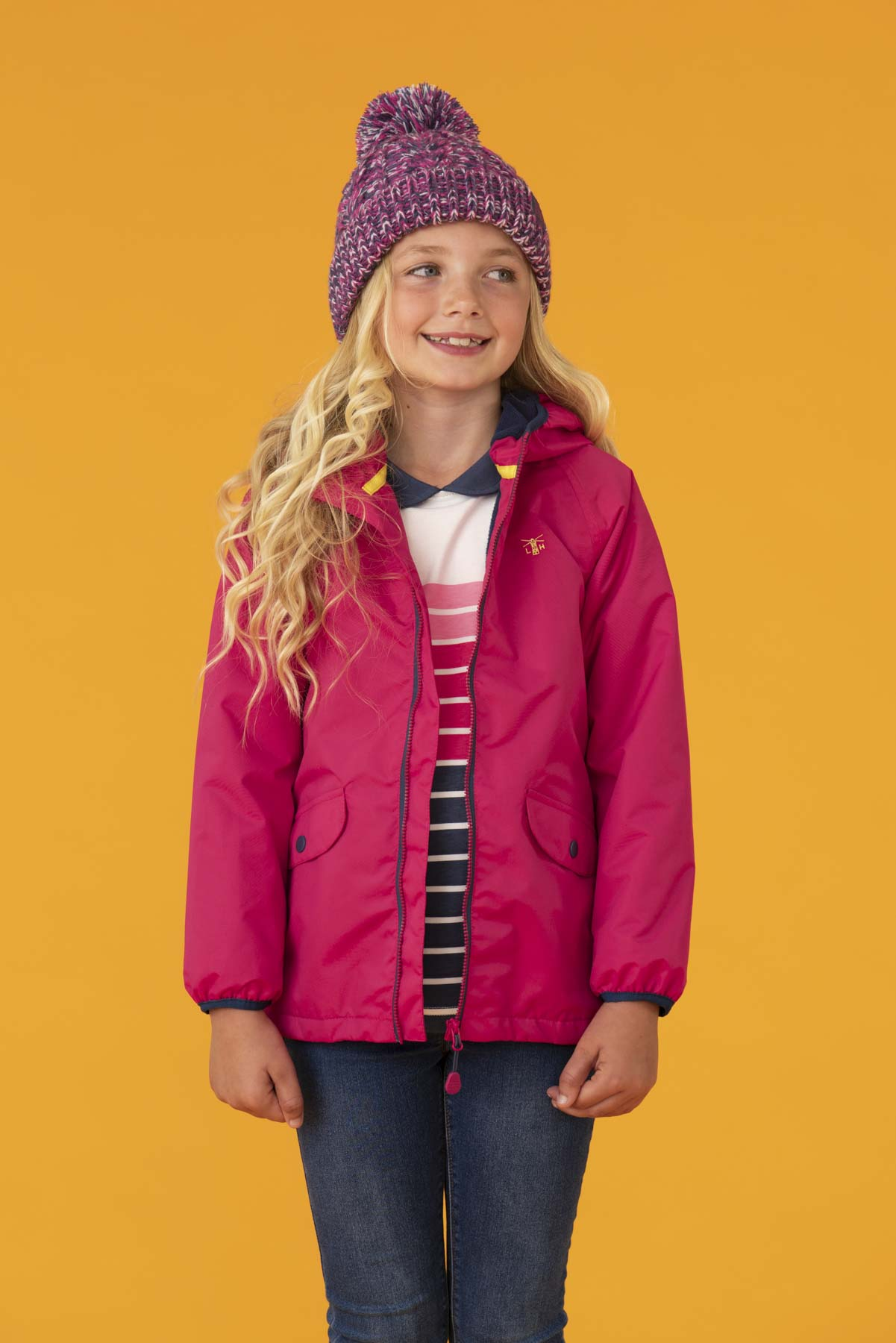 Amelia Coat - Pink. Girl's Fleece Lined Raincoat | Lighthouse
