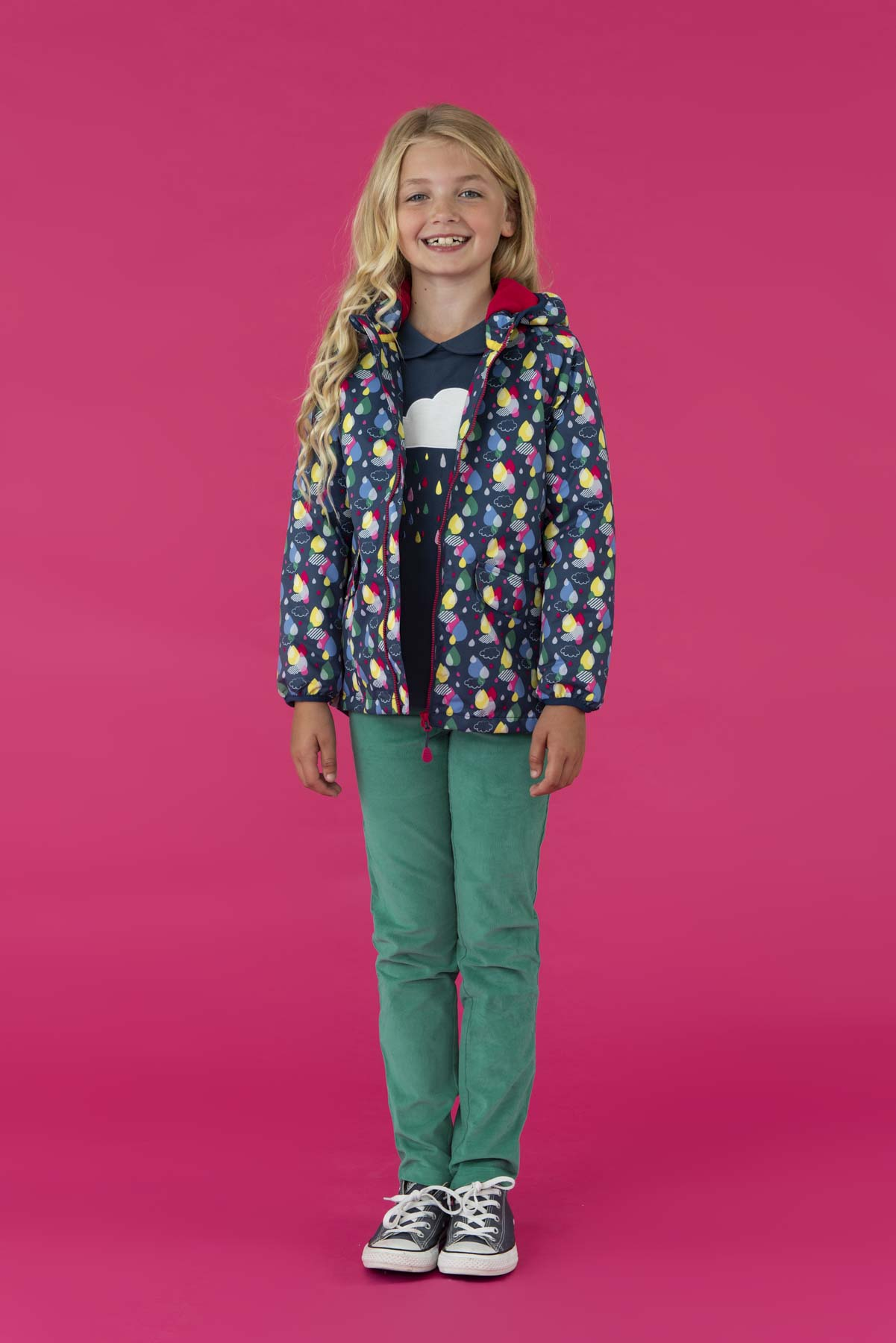 Amelia Coat - Raindrop Print. Girl's Fleece Lined Raincoat | Lighthouse