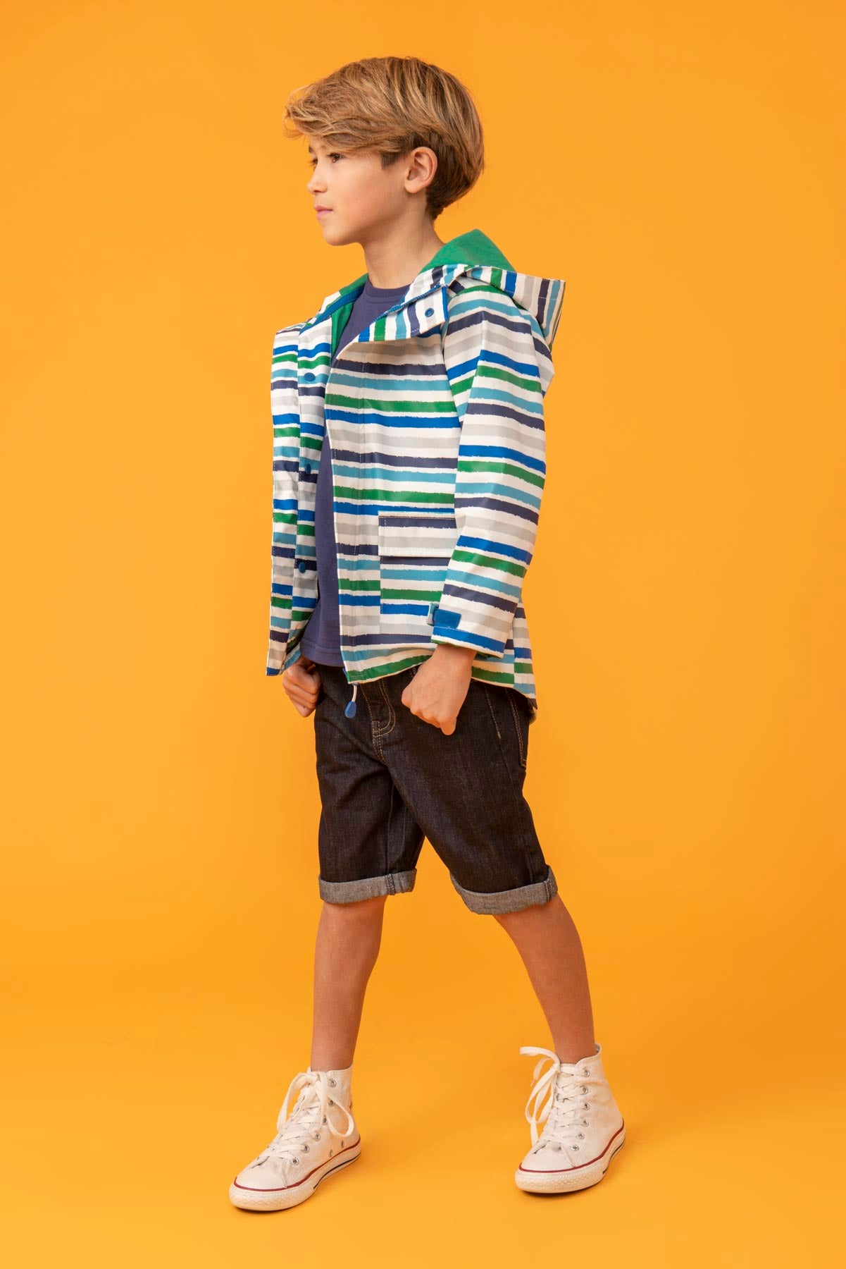 Boy's Coats - Anchor - Striped Raincoat