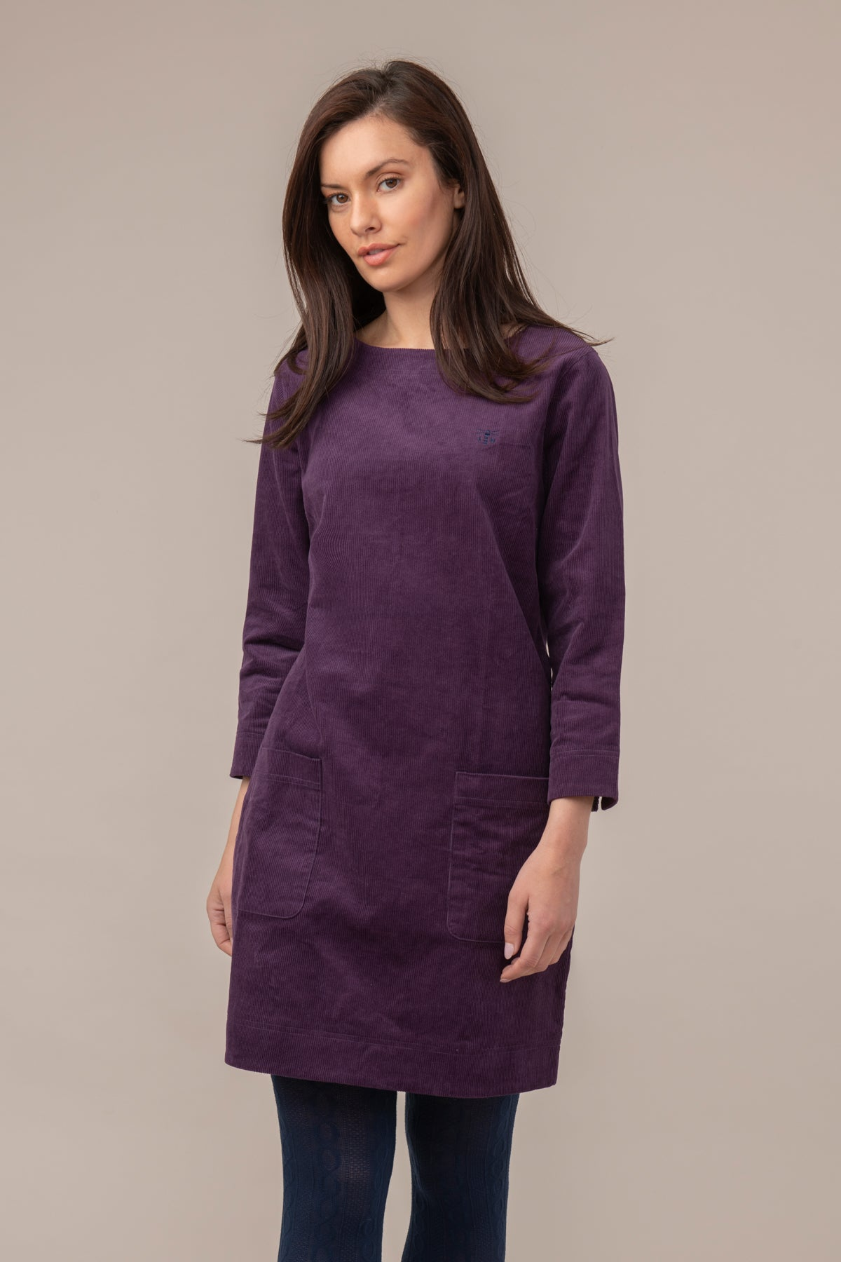 Lighthouse Anna - Womens Corderoy Dress - Blackcurrant