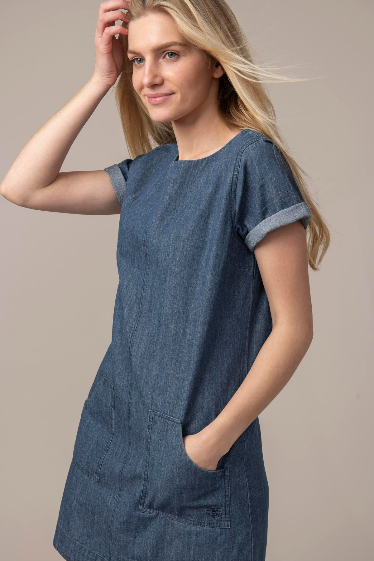 Anna Dress Short Sleeve - Washed Denim