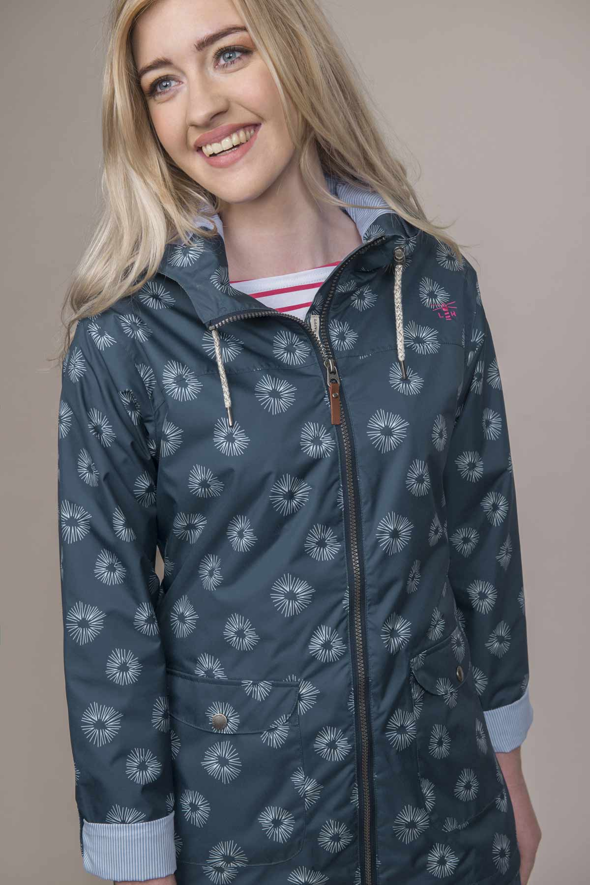 Lighthouse Anya women's navy print waterproof coat