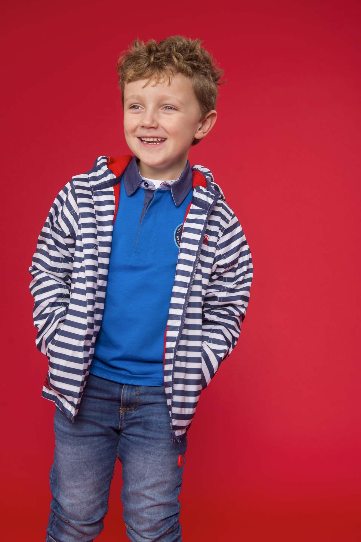 Lighthouse Atlantic boy's navy stripe waterproof coat