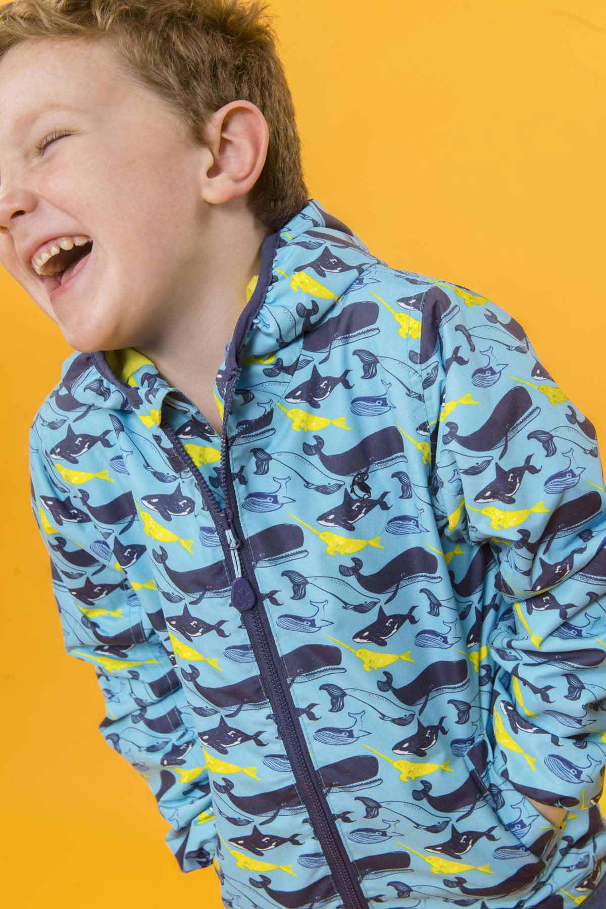 Lighthouse Atlantic boy's whale print waterproof coat