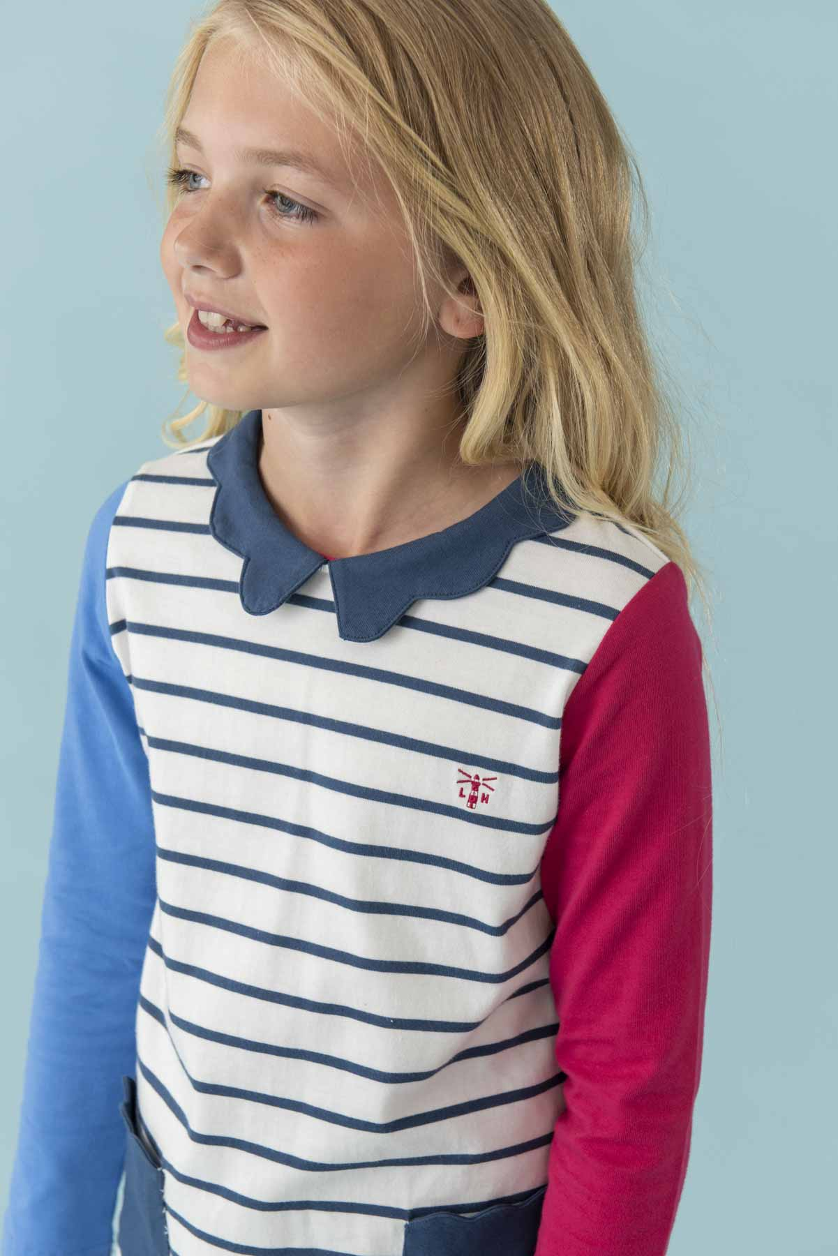 Belle Dress - Blue Stipe, Girl's Jersey Dress | Lighthouse